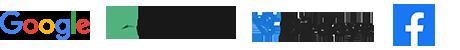 Brand logos for google, trustpilot, birdeye and facebook