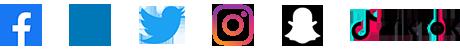 Brand logos for facebook, linkedin, twitter, instagram, snapchat and tiktok